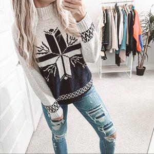 Vintage Oversized Nordic Knit Mock Neck Sweater